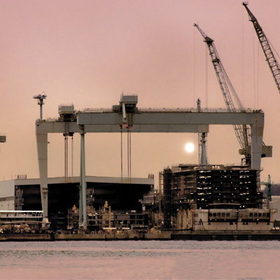 View on a shipyard with cranes