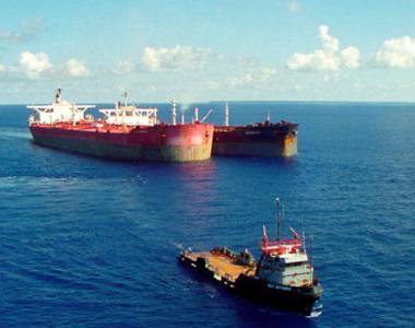 Merchant ships out at sea