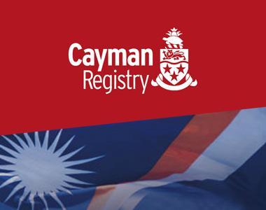 Cayman Islands Shipping Registry Logo and Marshall Islands Flag